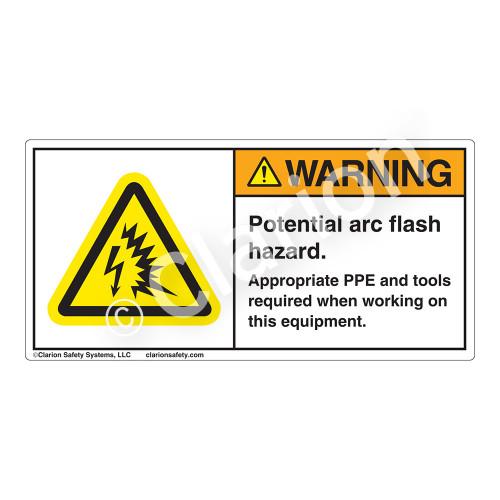 Warning/Potential Arc Flash Hazard Label (H6643-U82WH)
