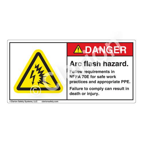Danger/Arc Flash Hazard Label (H6643-W97DH)