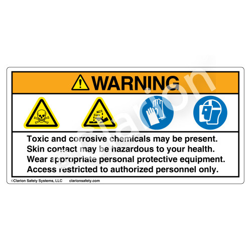 Warning/Toxic And Corrosive Label (HMS-9XWH)