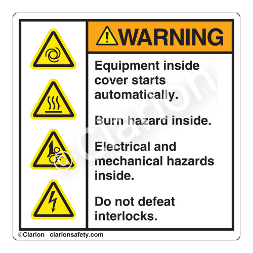 Warning/Equipment Starts Label (HMS-A20WH)