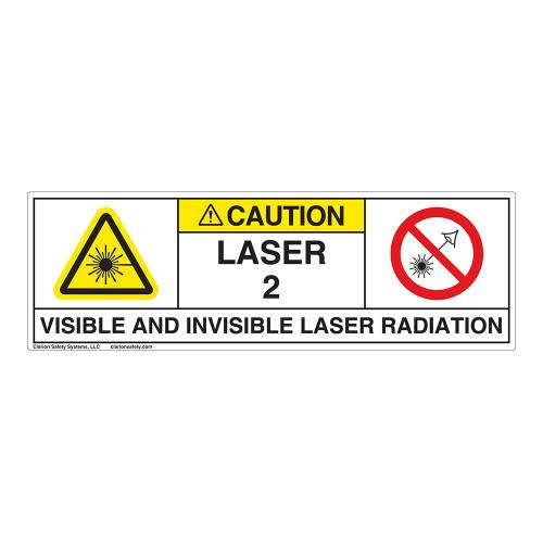 Caution/Visible & Invis Laser Radiation Class 2Label (IEC2009-)