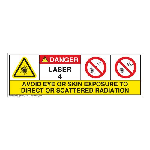 Danger/Laser Radiation Class 4 Label (IEC4004-H)