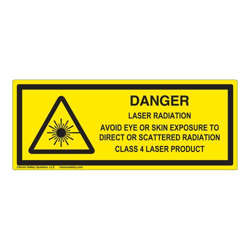 Danger/Laser Radiation Class 4 Label (IEC-6003-E69-H)