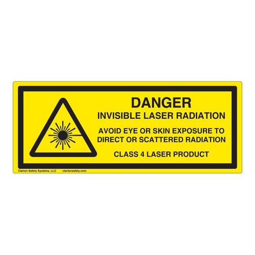 Danger/Invisible Laser Radiation Class 4 Label (IEC-6003-E94-H)