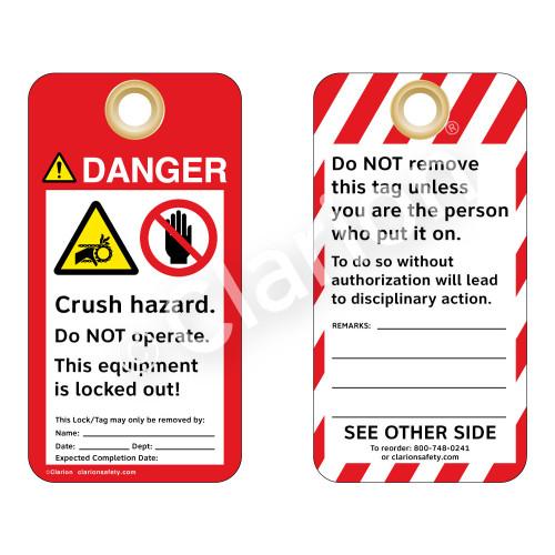 Danger/Crush Hazard - Chain Drive Tag (ST1014a-1)