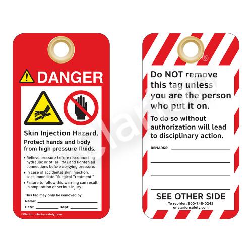Danger/Skin Injection Hazard Tag (ST1021a-1)