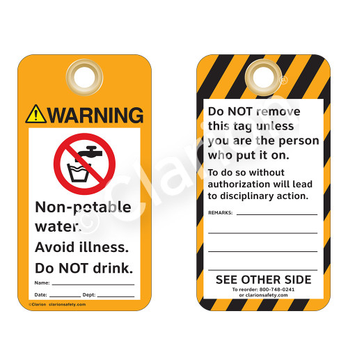 Warning/Non-Potable Water Tag (ST2013a-1)