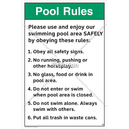 Pool Rules/Please Use Sign (WSS1018-SOD4U) )