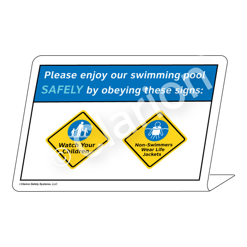 Watch Your Children/Non-Swimmers Wear Sign (WSS1728-36g-e) )