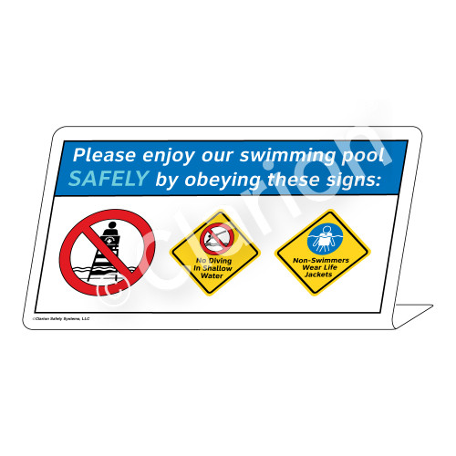 No Diving/Non-Swimmers Wear Sign (WSS1747-37g-e) )