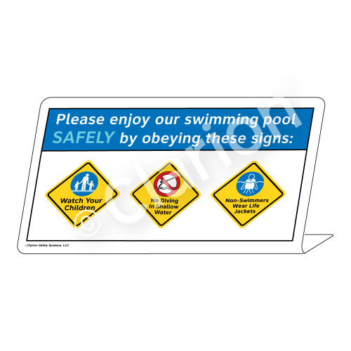 Watch Your Children/No Diving/Non-Swimmers WearSign (WSS1752-37g-e))