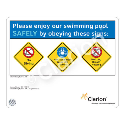 No Diving/Non-Swimmers Wear/No Long Breath Sign (WSS1754-37g-e) )