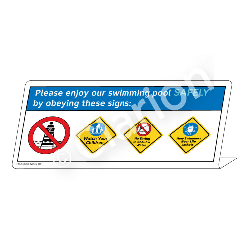 Watch Your Children/No Diving/Non-Swimmers WearSign (WSS1763-38g-e))