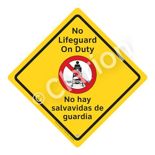No Lifeguard on Duty Sign (WSS2101-02a-esm) )