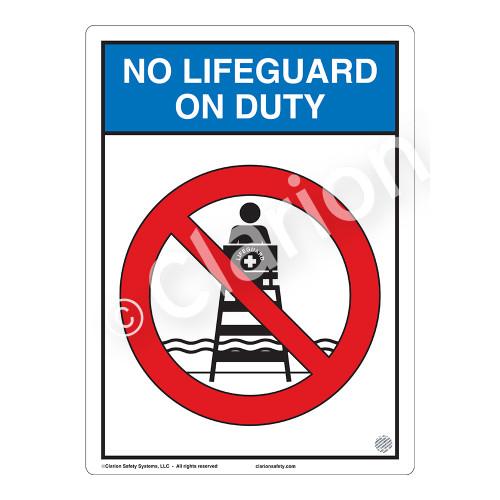 No Lifeguard on Duty Sign (WSS2151-03b-e) )