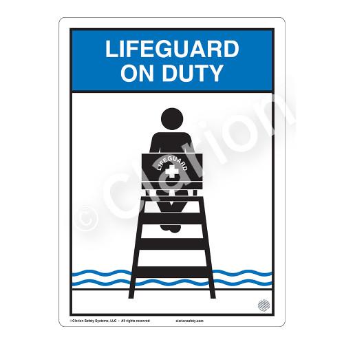 Lifeguard on Duty Sign (WSS2152-03b-e) )