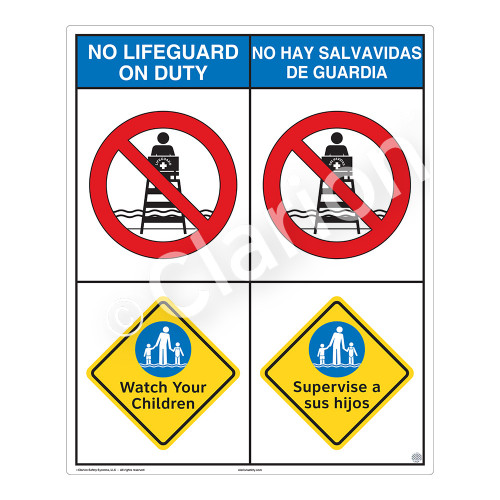 No Lifeguard on Duty/Watch Your Children Sign (WSS2201-06b-esm) )