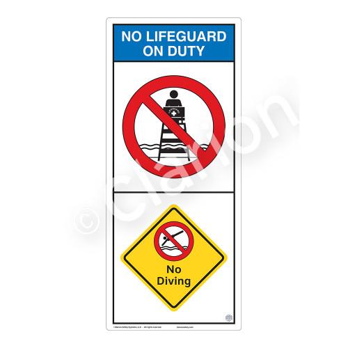 No Lifeguard on Duty/No Diving Sign (WSS2202-05b-e) )