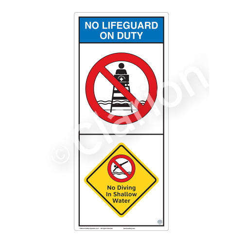 No Lifeguard on Duty/No Diving in Shallow WaterSign (WSS2203-05b-e))