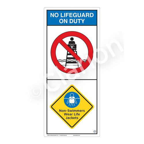 No Lifeguard on Duty/Non-Swimmers Wear Sign (WSS2204-05b-e) )