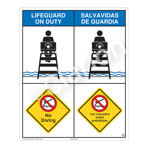 Lifeguard on Duty/No Diving Sign (WSS2207-06b-esm) )