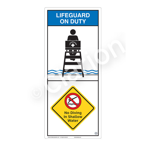 Lifeguard on Duty/No Diving in Shallow Water Sign (WSS2208-05b-e) )