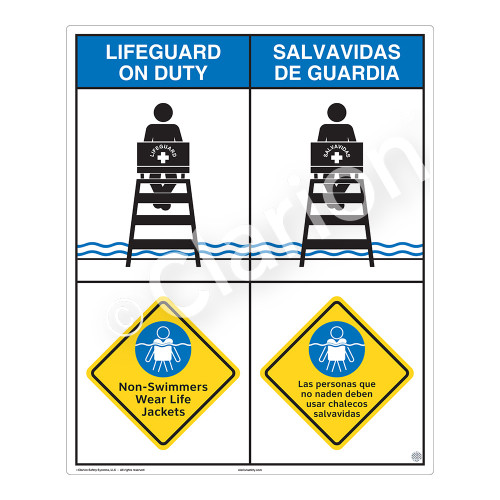 Lifeguard on Duty/Non-Swimmers Wear Sign (WSS2209-06b-esm))
