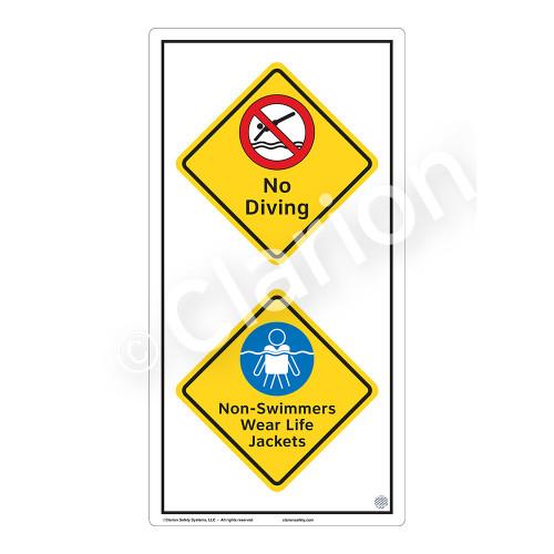 No Diving Sign (WSS2215-50b-e) )