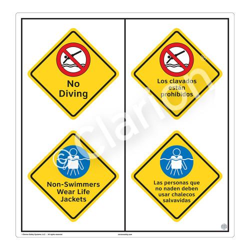 No Diving Sign (WSS2215-51b-esm) )