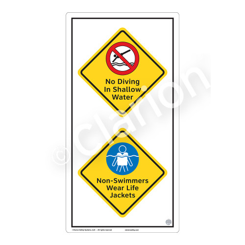 No Diving In Shallow Water Sign (WSS2217-50b-e) )
