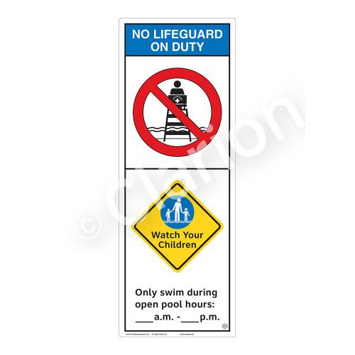 No Lifeguard on Duty/Watch Your Children Sign (WSS2251-42b-e) )