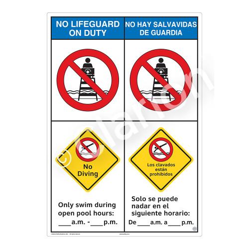 No Lifeguard on Duty/No Diving Sign (WSS2252-43b-esm) )