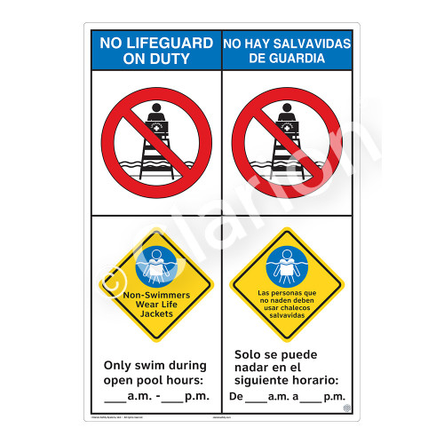 No Lifeguard on Duty/Non-Swimmers Wear Sign (WSS2254-43b-esm))