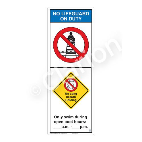 No Lifeguard on Duty/No Long Breath Holding Sign (WSS2255-42b-e) )