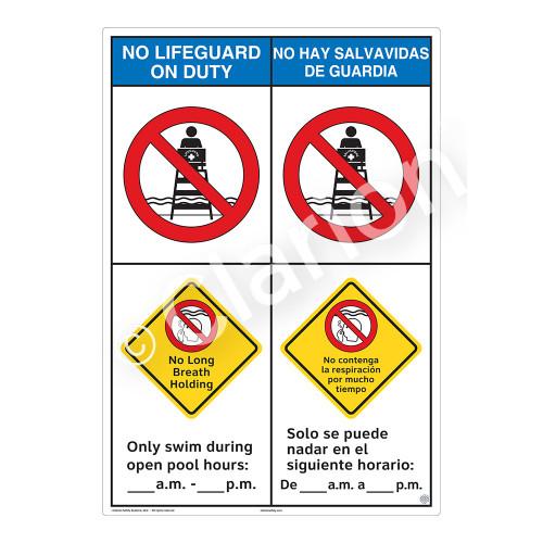 No Lifeguard on Duty/No Long Breath HoldingSign (WSS2255-43b-esm))