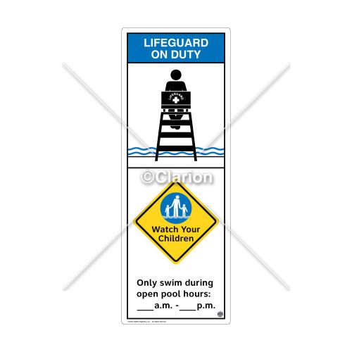 Lifeguard on Duty/Watch Your Children Sign (WSS2256-42b-e) )