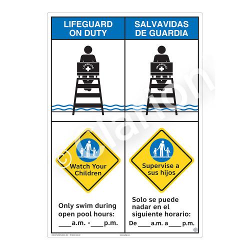 Lifeguard on Duty/Watch Your Children Sign (WSS2256-43b-esm) )