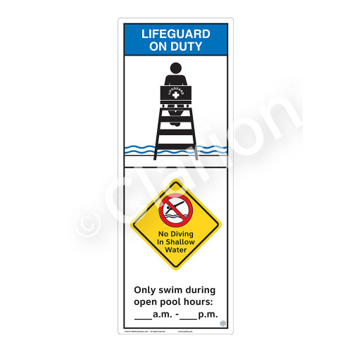 Lifeguard on Duty/No Diving in Shallow Water Sign (WSS2258-42b-e) )