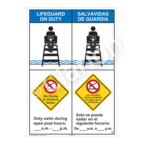 Lifeguard on Duty/No Diving Shallow WaterSign (WSS2258-43b-esm))