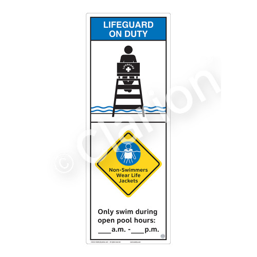 Lifeguard on Duty/Non-Swimmers WearSign (WSS2259-42b-e))