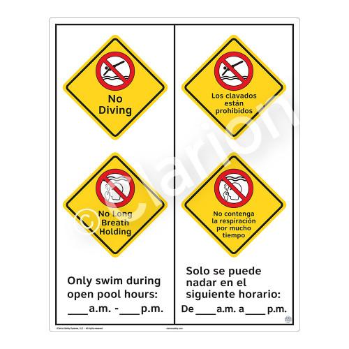 No Diving Sign (WSS2266-53b-esm) )