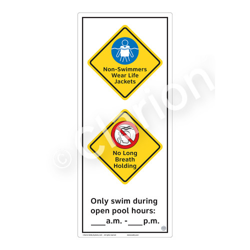 Non-Swimmers Wear Life Jackets Sign (WSS2269-52b-e) )