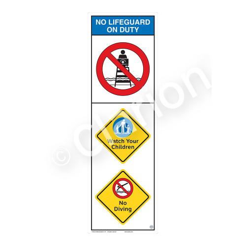 No Lifeguard on Duty/Watch Your Children Sign (WSS2301-07b-e) )