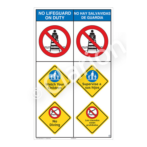 No Lifeguard on Duty/Watch Your Children Sign (WSS2301-08b-esm) )