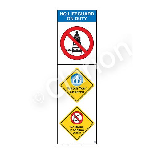 No Lifeguard on Duty/Watch Your Children Sign (WSS2302-07b-e) )