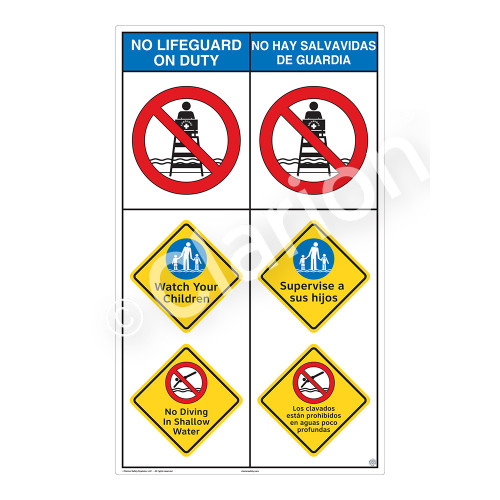 No Lifeguard on Duty/Watch Your Children Sign (WSS2302-08b-esm) )