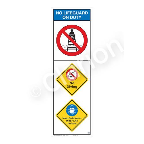No Lifeguard on Duty/No Diving Sign (WSS2305-07b-e) )