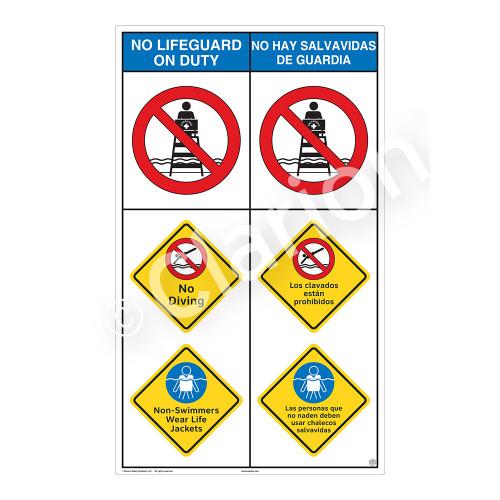 No Lifeguard on Duty No Diving Sign (WSS2305-b)