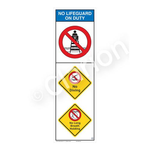 No Lifeguard on Duty/No Diving Sign (WSS2306-07b-e) )