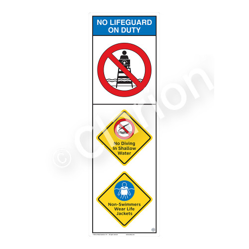 No Lifeguard on Duty/No Diving in ShallowSign (WSS2307-07b-e))